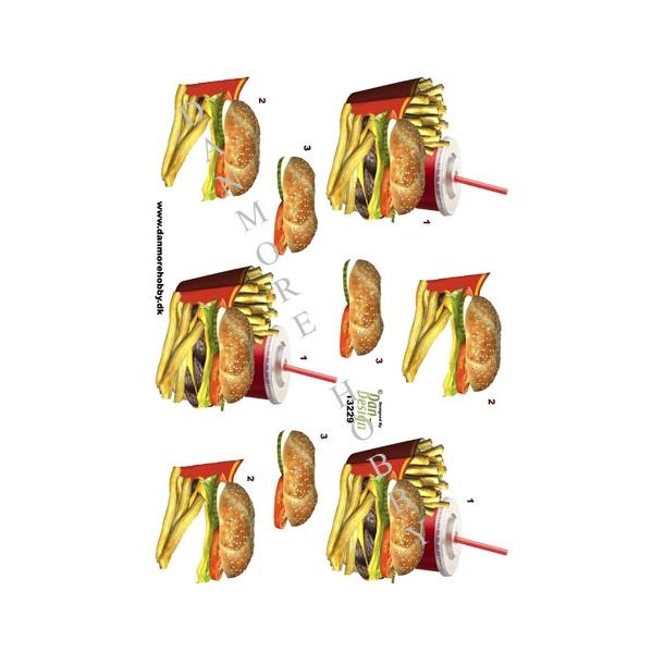 3D ark burger med pommesfrites