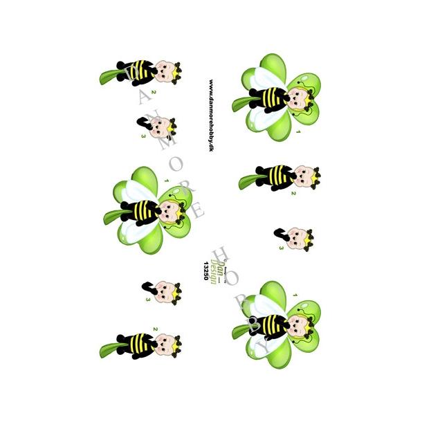 3D ark grøn bi pige på trekløver