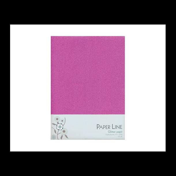 Glitter papir dobbelt A4 120g, 10stk pakke pink