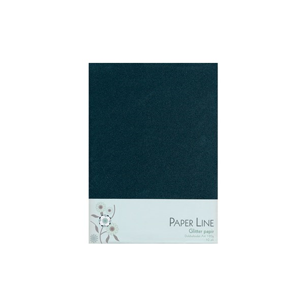 Glitter papir dobbelt A4 120g, 10stk pakke sort