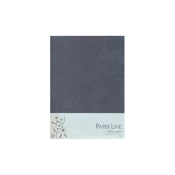 Glitter papir dobbelt A4 120g, 10stk pakke grå