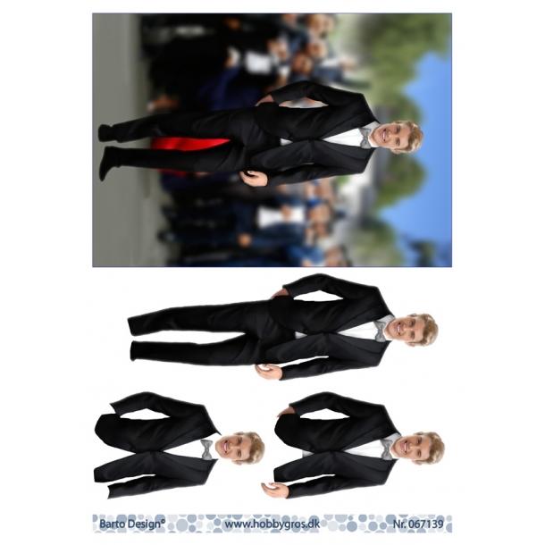 3D ark. Konfirmanddreng Lyst hår (telegramstørrelse)