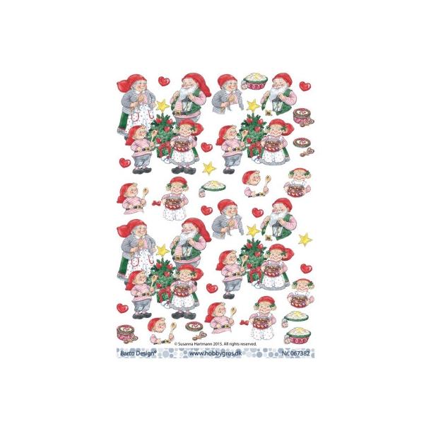 Jule forældre og 2 børn med juletræ, risengrød, hjerter