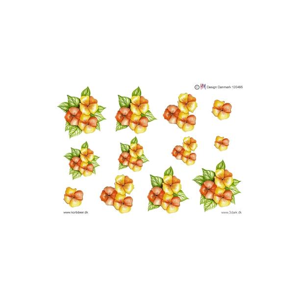 3D ark. Orange og gule blomster