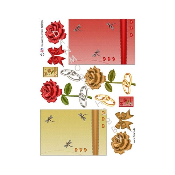 Kort til indbydelse med roser & ringe