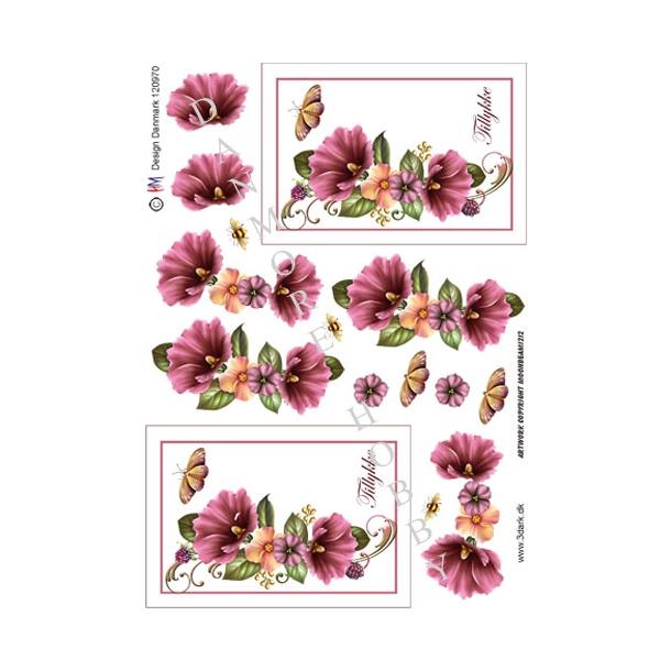 Blomster med sommerfugl & bi