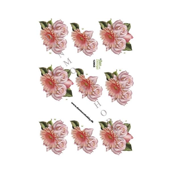 3D ark. Lys rød blomst & roser