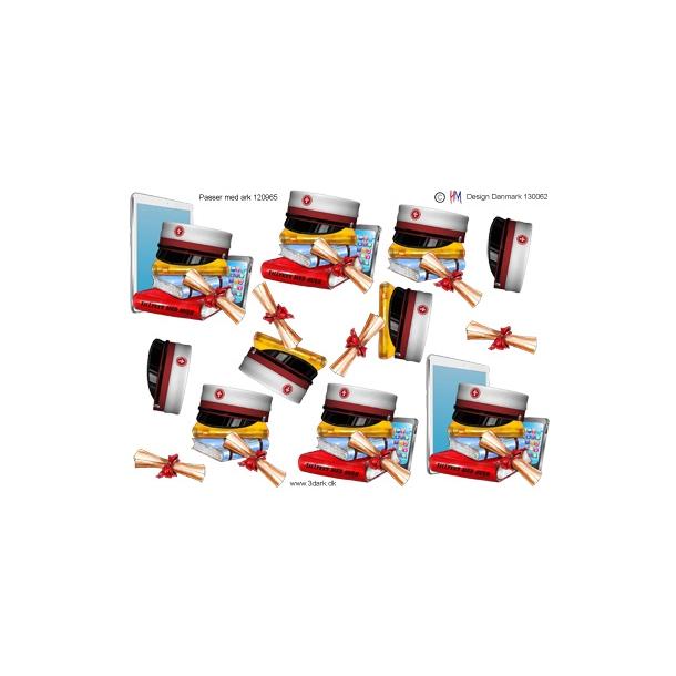 3D ark. Studenterhue med rødt bånd og eksamensbevis