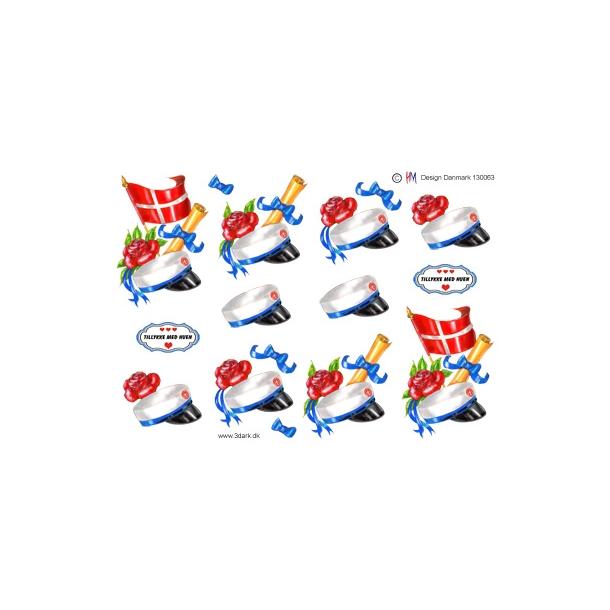 3D ark. Studenterhue med blåt bånd og flag
