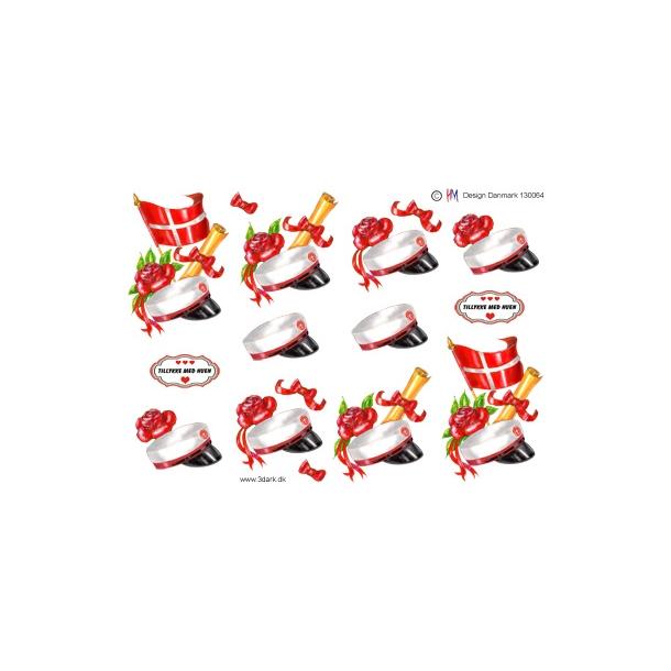 3D ark. Studenterhue med rødt bånd og flag