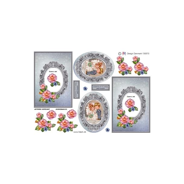 Firkantet kort med grå ramme og lyserød blomst med brudepar