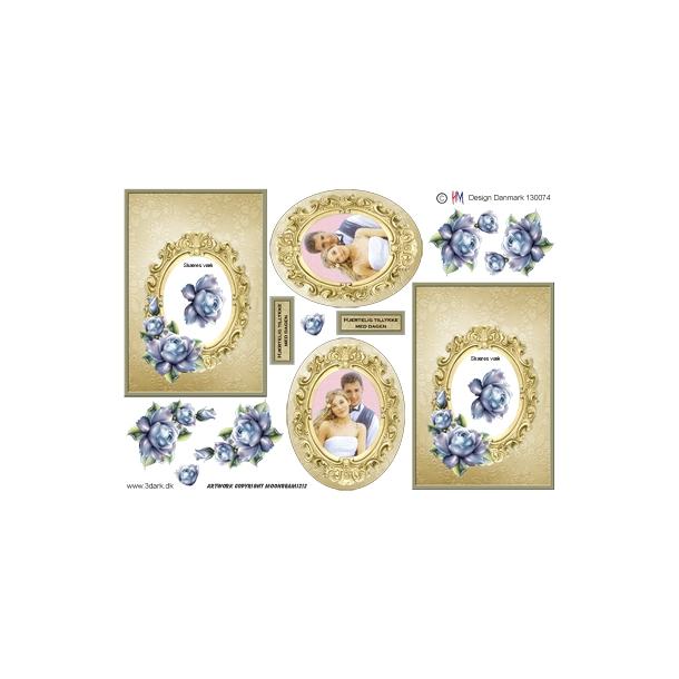 Firkantet kort med guld ramme og blå blomst med brudepar