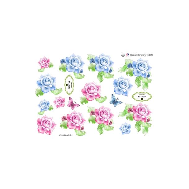 3D ark. Smukke roser i 2 farver