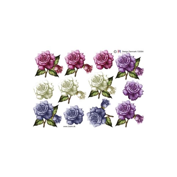 3D ark Rosenhoveder i 4 smukke farver