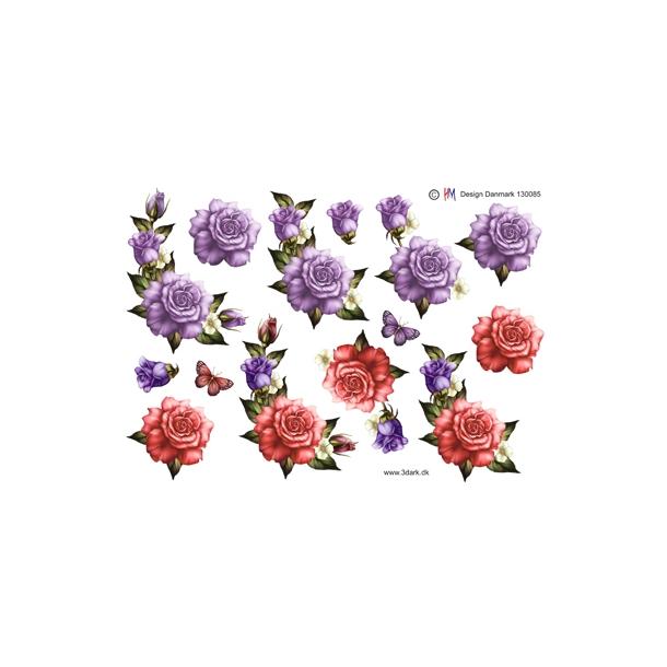 3D ark. Roser med knop i lilla og lyserød