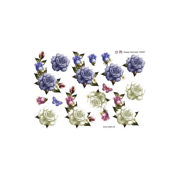 3D  ark. Roser med knop i blå og hvid