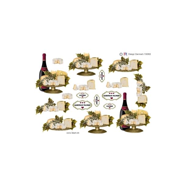 3D ark. Rødvin og ost