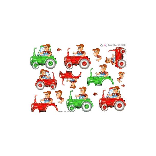 3D ark. Traktor i grøn og rød