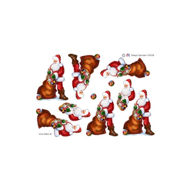 3D ark. Julemanden med gaver i sæk