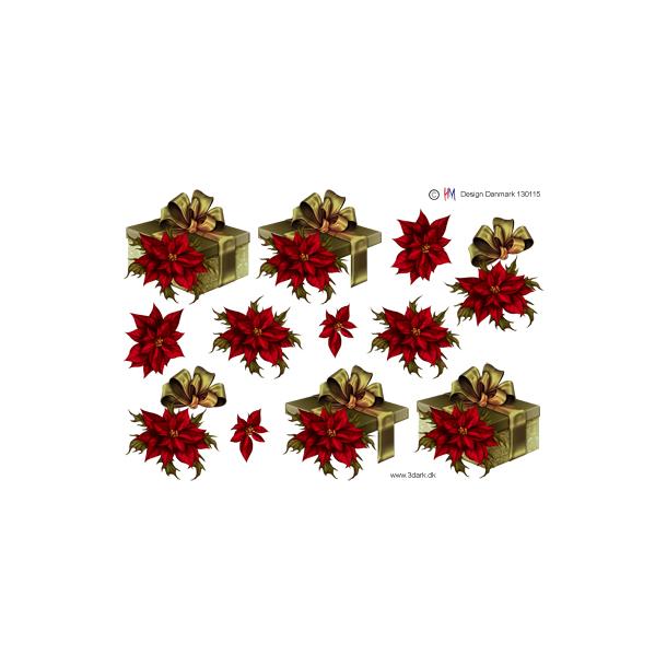 Guld pakke og rød julestjerne