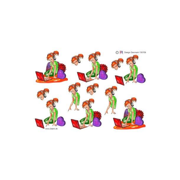 3D ark. Konfirmationspige - Pige med bærbarpc