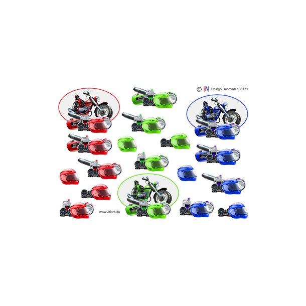 3D ark. 3 motorcykler, rød, grøn og blå