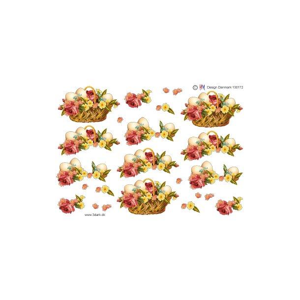3D ark. Kurv med æg og blomster