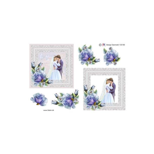 Brudepar med blå rose i firkant