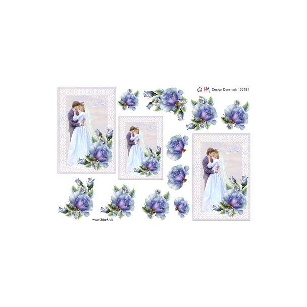 Brudepar med blå rose