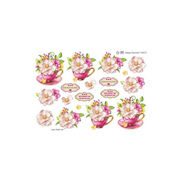 Blomster i lyserød kop