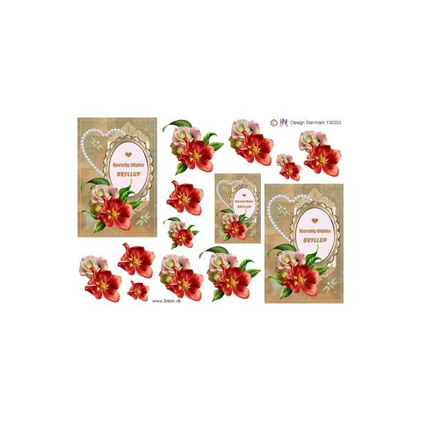 Bryllups tekst og blomster