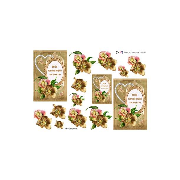 Guldbryllups tekst og blomster til telegram