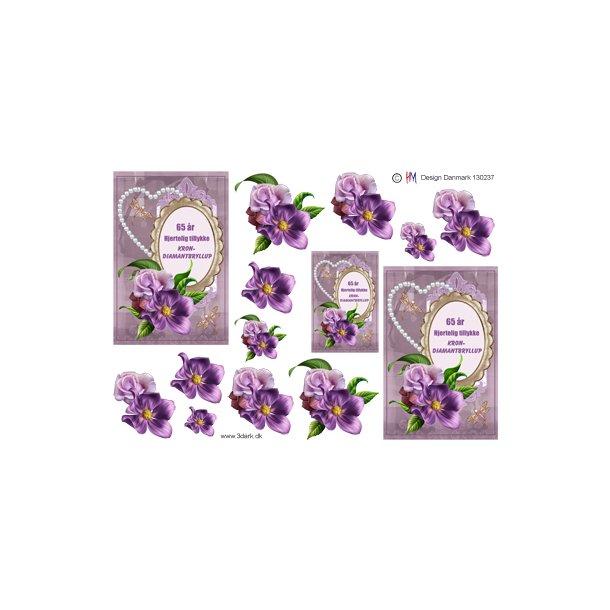 Krondiamantbryllups tekst og blomster