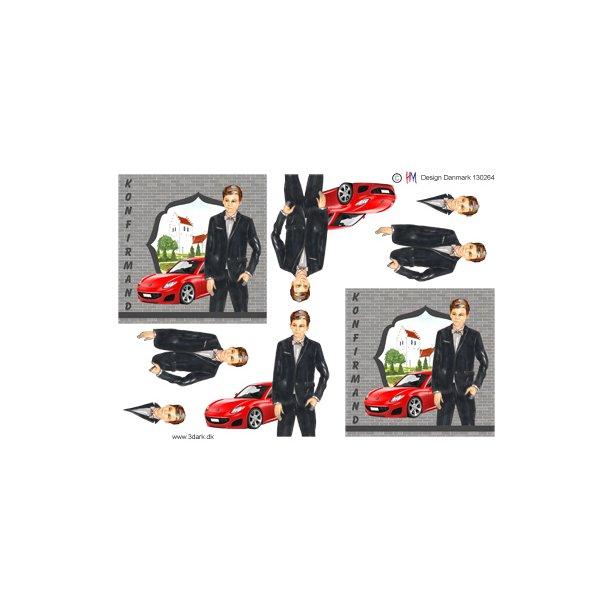 Konfirmations dreng med rød sportsvogn i baggrunden