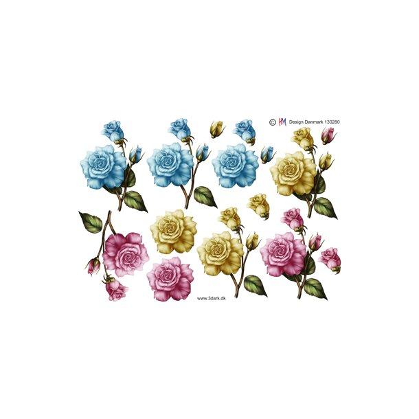 3 smukke roser i 3 sarte farver