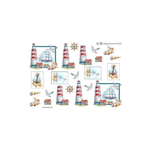 Fyrtårn og skib