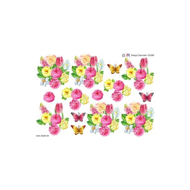 Forårsblomster med sommerfugl, HM design