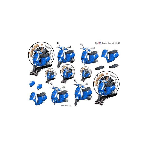 Blå scooter
