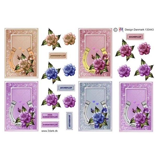 5 små kort med hestesko