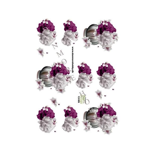 3D ark. Blomst & roser i vase