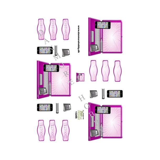 3D ark bærbar computer og iPhone pink