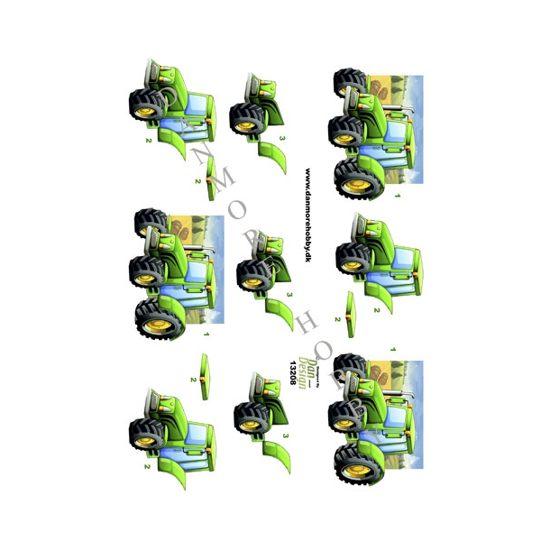 3D ark grøn traktor