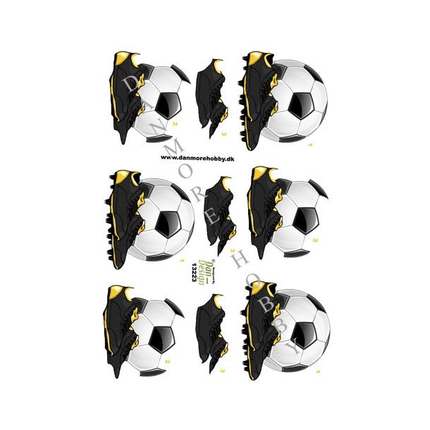 3D ark fodboldstøvler og bold