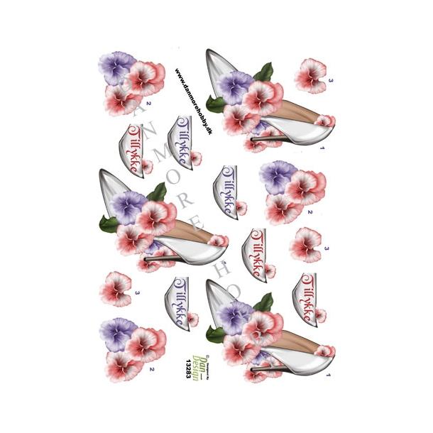 3D ark stiletsko med blomster