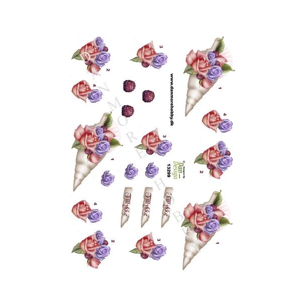 3D ark blomst i conkylie