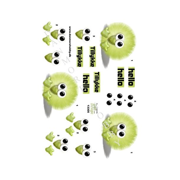 3D ark pompom dyr grøn