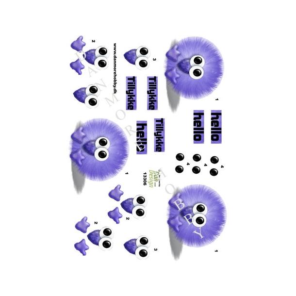 3D ark pompom dyr lilla