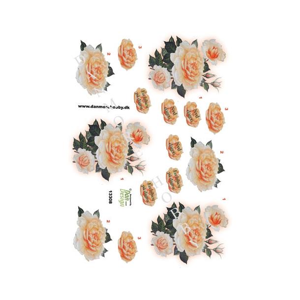 3D ark rose med hilsen