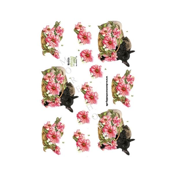 3D ark mops med blomsterkurv