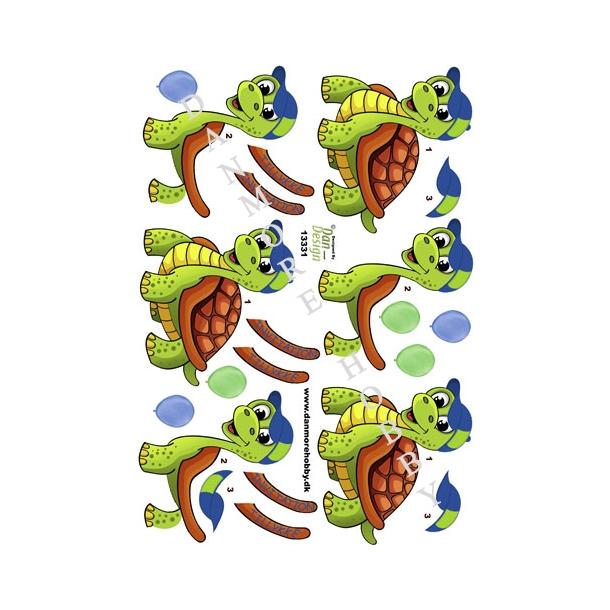 3D ark skildpadde tillykke/invitation